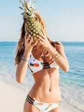 swimwear,zaful,pineapple print,pineapple,bathing suit bottoms,summer,summer outfits,swimwear two piece