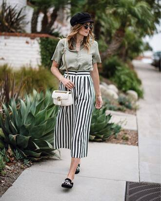pants tumblr stripes striped pants culottes bag white bag fisherman cap shoes mules