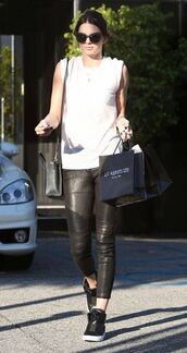 sneakers,kendall jenner,top,leather pants,pants,shoes,sunglasses