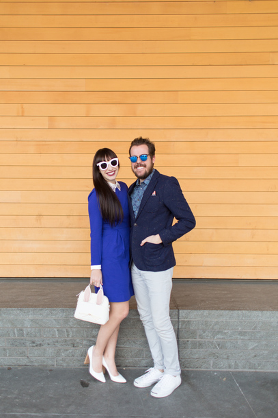 kelsey bang blogger sunglasses dress make-up shoes bag jacket shirt pants blue dress white bag pumps white heels