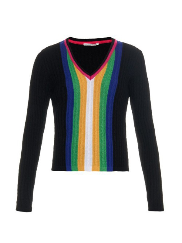 360 sweater abbagail striped cashmere sweater in nero