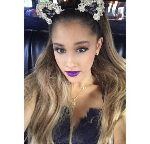 make-up hair accessory t-shirt ariana grande cat ears headband fashion  halloween makeup 044be0bfeb6