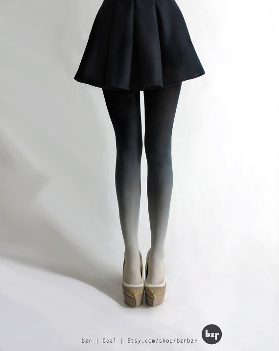 Bzr ombré tights in coal by bzrshop on etsy