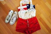 tank top,white,flag,lace,button,buttons,chuck taylor all stars,cute,shoes,blue,american flag,american,usa,red,shorts,outfit,high top sneakers,high tops,shirt,blouse,t-shirt,top,see through,skirt,lace tank top,american gal crop top,bustier,converse,red shorts,clothes