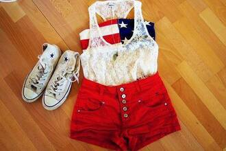 tank top white flag lace button buttons chuck taylor all stars cute shoes blue american flag american usa red shorts outfit high top sneakers high tops shirt blouse t-shirt top see through skirt lace tank top american gal crop top bustier converse red shorts clothes