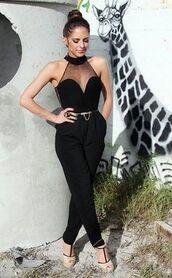 pants,bodysuit,jumpsuit,black jumpsuit,black,pantsuit,shear,v-cut,formal,slim,gold belt,chain belt,long,little black dress