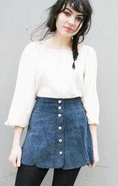 skirt,suede skirt,blue skirt,button up skirt,vintage,blue suede skirt