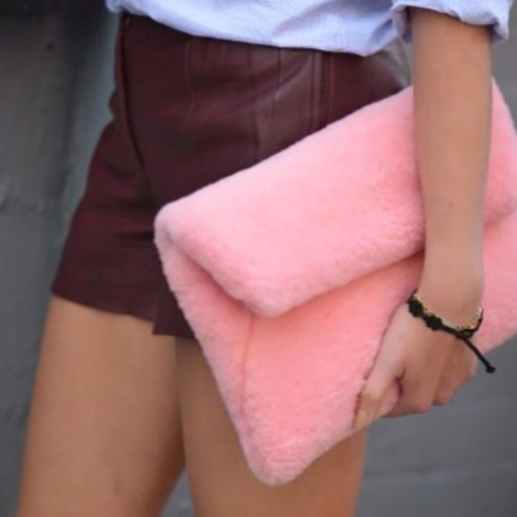 bag clutch furry fuzzy faux fur