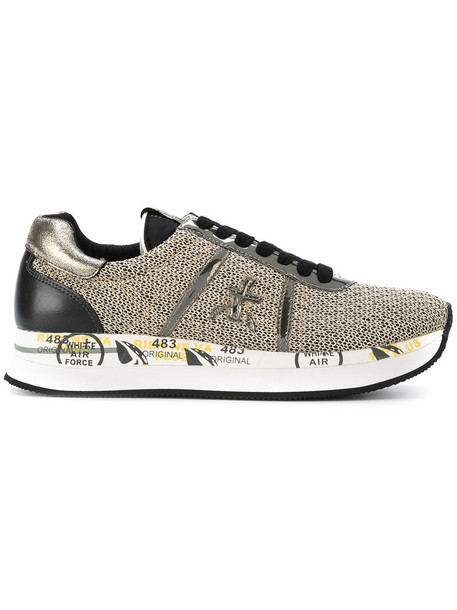 Premiata women sneakers leather grey metallic shoes