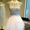 White short sequin rhinestone round neckline prom dresses, homecoming - 24prom