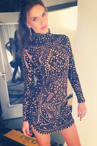 dress short dress mini dress alessandra ambrosio turtleneck embroidered
