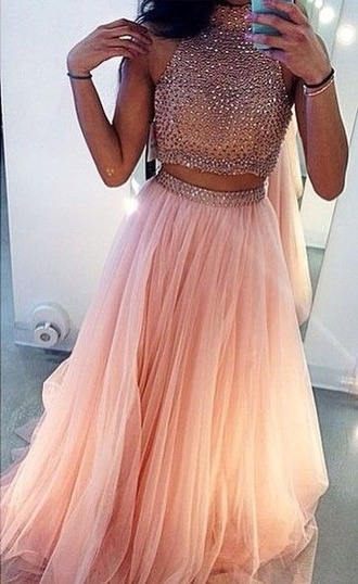 dress prom dress prom prom gown two-piece two piece dress set pink dress blush pink sparkle skirt