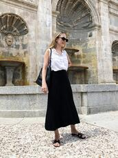 trini,blogger,sunglasses,shirt,skirt,shoes,bag,hermes,midi skirt,white shirt,summer outfits