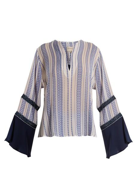 ZEUS + DIONE top jacquard geometric silk white