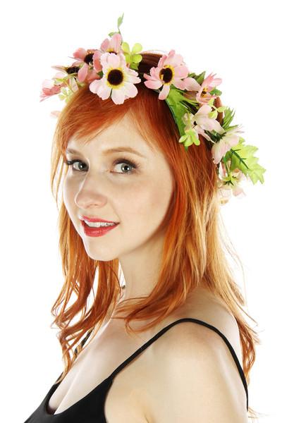 Coral floral headband