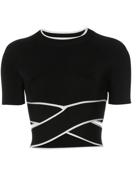 t-shirt shirt t-shirt cropped women spandex black top