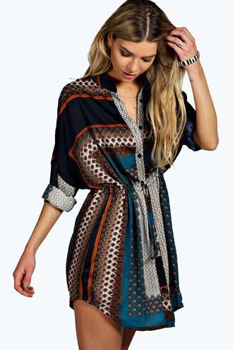 dress printed shirt tel dress boohoo dress