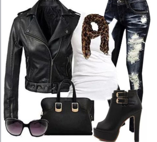 jacket sunglasses scarf jeans bag