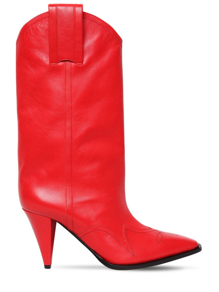 NINA RICCI 90mm Leather Cowboy Boots in red