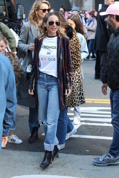 t-shirt top denim jeans nicole richie streetstyle