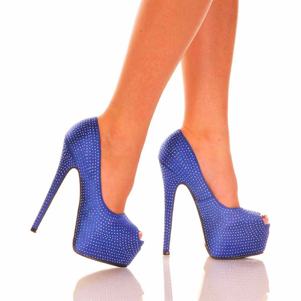 Royal Blue Peep Toe Pump | Yallure
