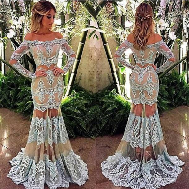 db1b53b0aa85 dress blue-brown blue green white lace dress prom dress long prom dress off  the