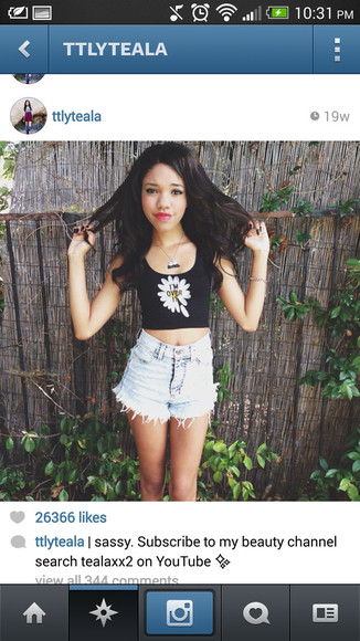 shirt crop tank high-wasted denim shorts