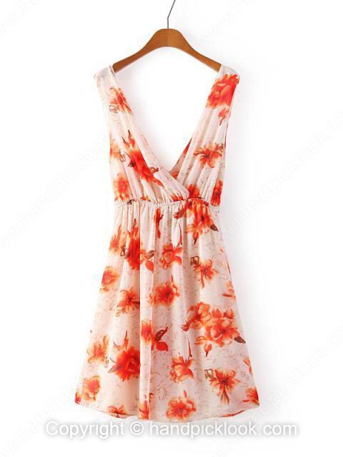 Multicolor V-neck Sleeveless Flower Print Ruched Chiffon Dress - HandpickLook.com