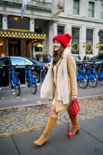 covering bases curvy blogger coat hat scarf shoes jewels make-up winter outfits beanie boots knee high boots red bag handbag beige coat