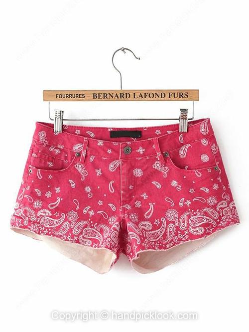 Red Fringe Cashew Print Pockets Shorts - HandpickLook.com