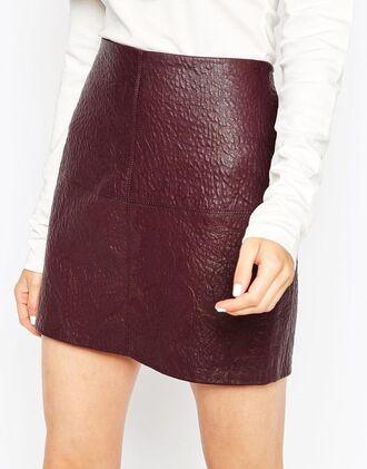 skirt leather skirt burgundy skirt