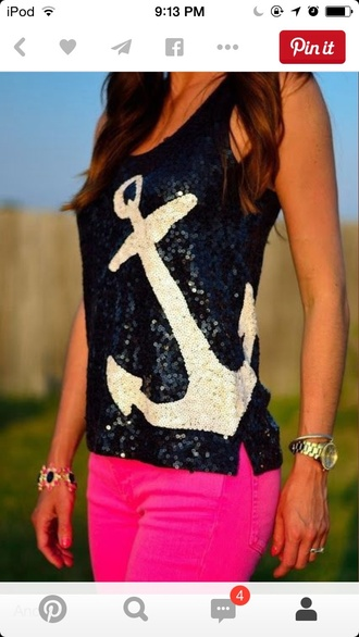 blouse pink dress black top sequin shirt anchor shirt nautical tank top ocean summer top