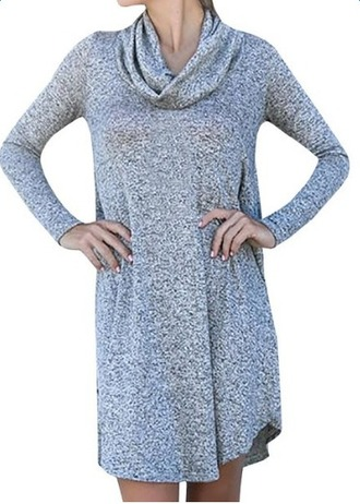 sweater cowl neck long sleeves casual loose sweater dress pullover knitted sweater grey slim dress