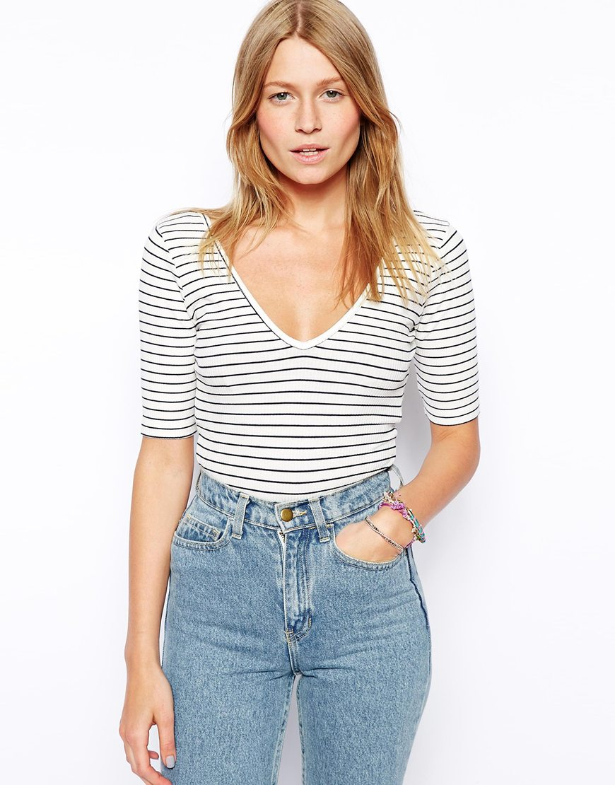 ASOS Body with Long Sleeves In Stripe Rib at asos.com