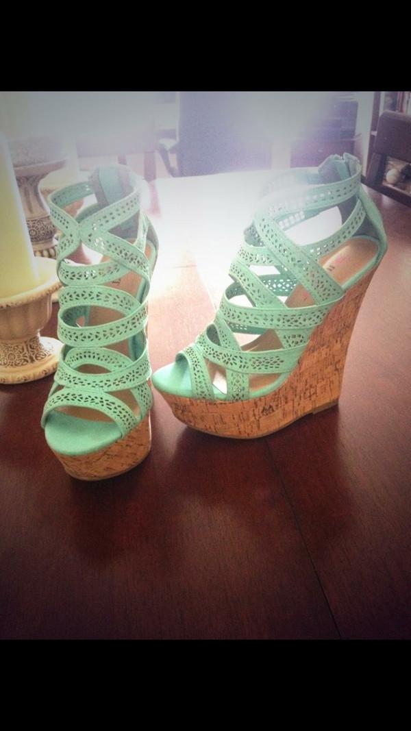 shoes aqua heels wedges