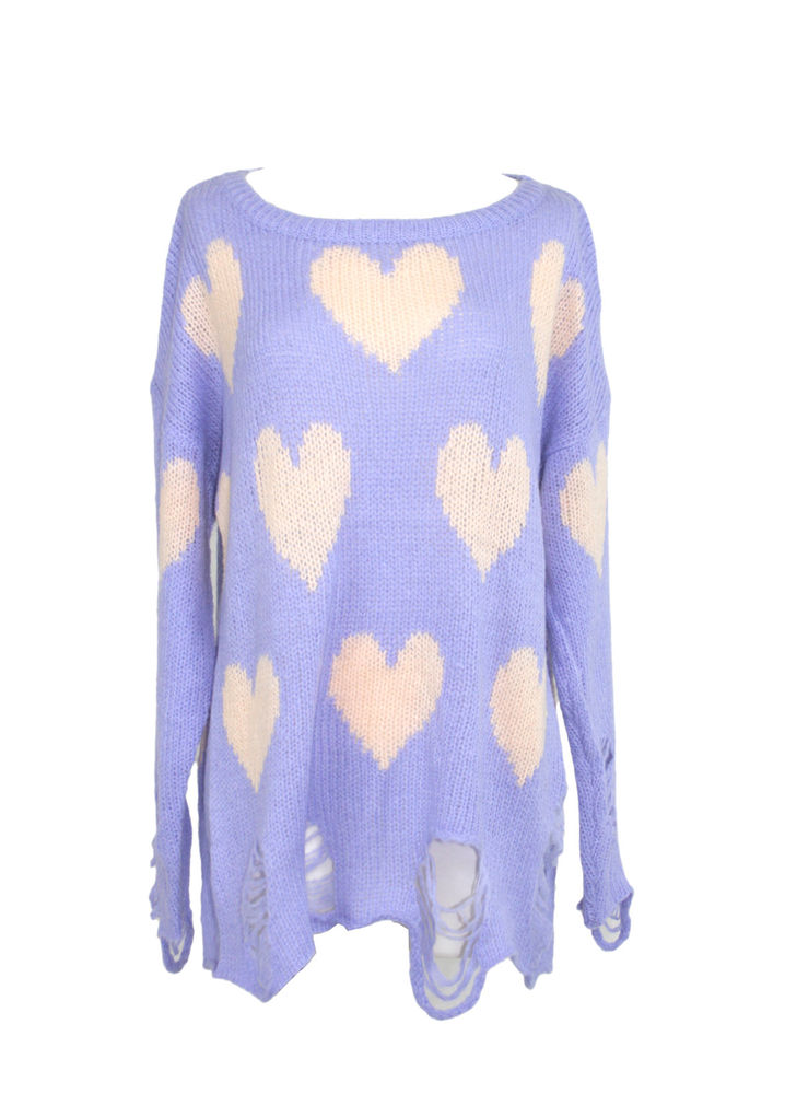 New WILDFOX Couture Lennon All Over Love Heart Jumper Tunic Sweater Top Blue | eBay
