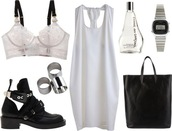 underwear,white,black,bralette,boots,purse,watch,shoes,digital watch