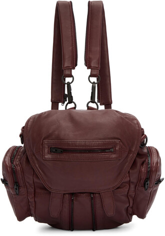 mini backpack burgundy bag