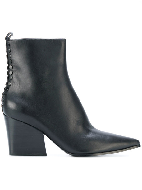 KENDALL+KYLIE heel chunky heel women ankle boots leather black shoes