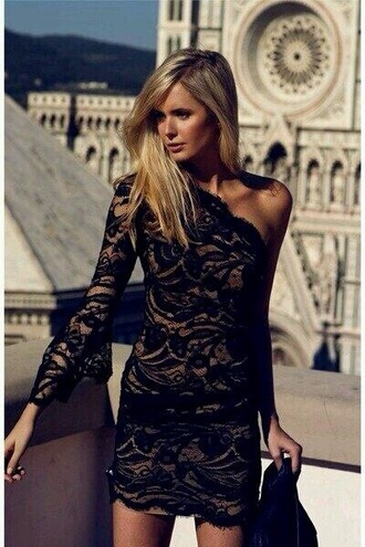 dress black short long sleeve dress lace dress black and tan one shoulder black lace dress