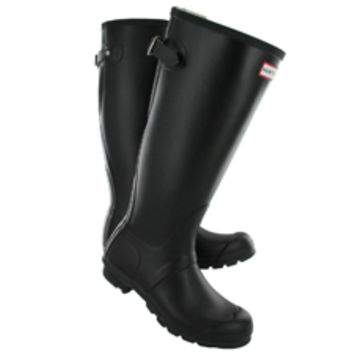 Hunter | Women's ORIGINAL BACK ADJUSTABLE black rain boots HNTADJW BLK on Wanelo
