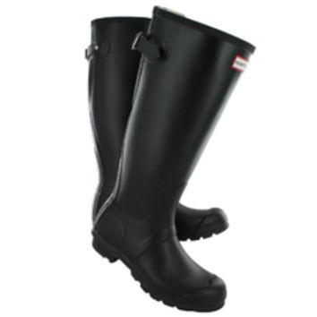Hunter   Women's ORIGINAL BACK ADJUSTABLE black rain boots HNTADJW BLK on Wanelo