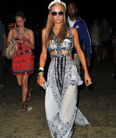 jumpsuit floral headband jewels sunglasses paris hilton