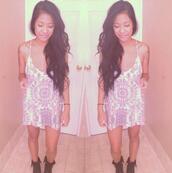 dress,pink,white,summer,hippie,tribal pattern,summer dress,pastel grunge