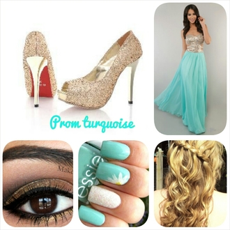 dress turquoise dress turquoise high heels nail polish make-up