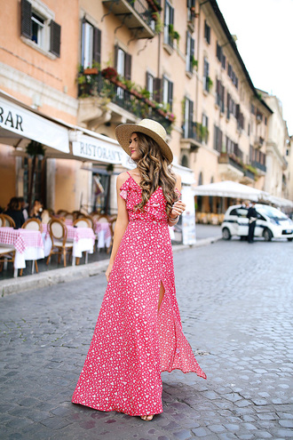 southern curls and pearls blogger dress shorts hat jewels make-up tumblr red dress maxi dress long dress slit dress summer summer dress sun hat