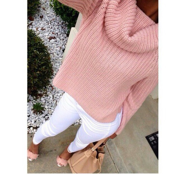 shoes heels sweater pink pink sweater oversized sweater cute sweater cute crop top sweater cropped sweater