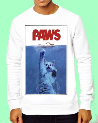 sweater tees jaws shirt jaws paws paws tee t-shirt graphic tee mens sweater mens t-shirt mens jacket cats menswear