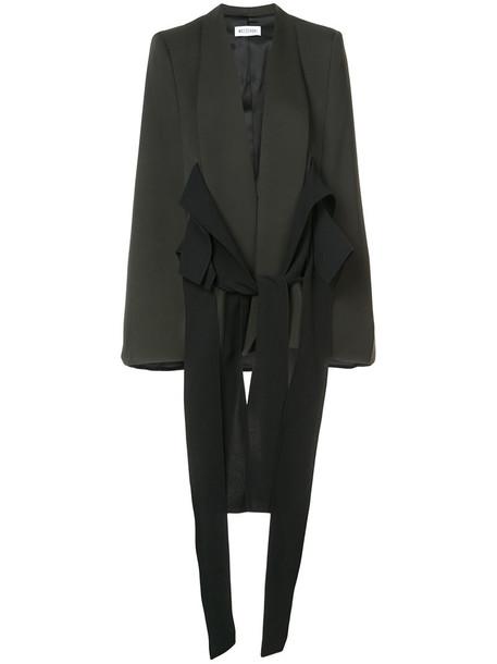 MATICEVSKI cape women spandex black silk wool top