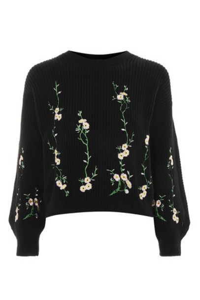 sweater embroidered floral black